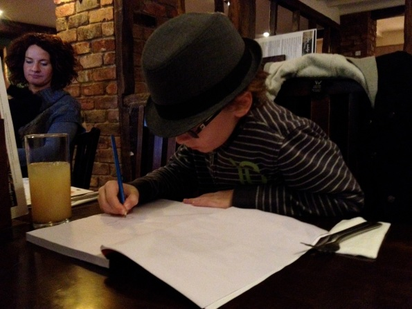 Matthias Drawing at a Pub in England